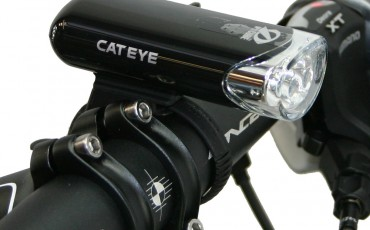 A bike light attached to handlebars